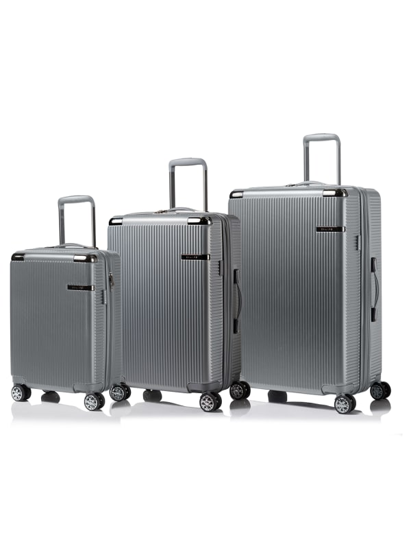 Champs 3-Piece Legacy Hardside Luggage Set - Silver - Front