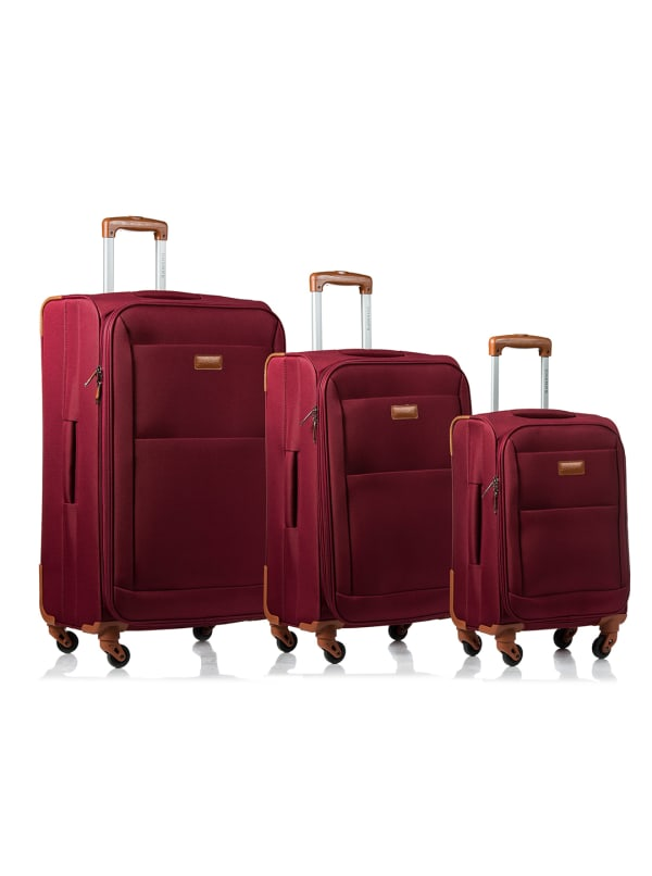 Champs 3-Piece Classic Softside Luggage Set - Red - Front