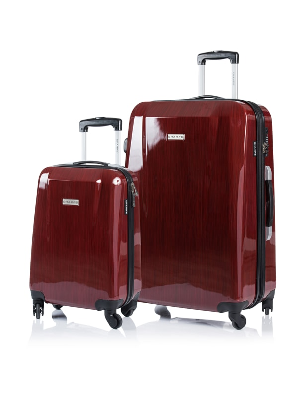 Champs 2-Piece Escape Hardside Luggage Set - Red - Front