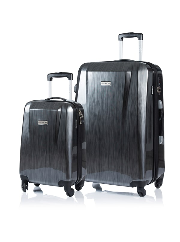 Champs 2-Piece Escape Hardside Luggage Set - Grey - Front