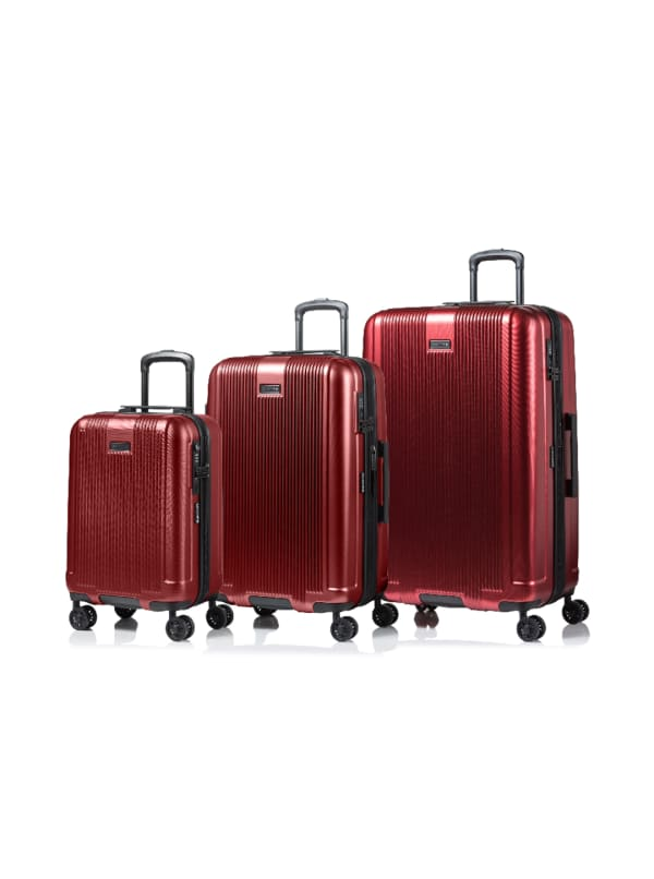 Champs 3-Piece Marquis Hardside Luggage Set - Red - Front