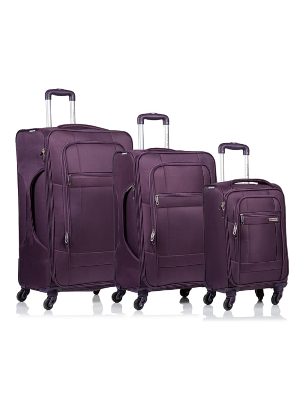 Champs 3-Piece Pacific Softside Luggage Set - Purple - Front