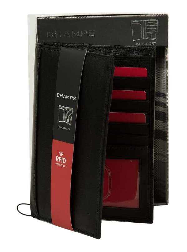Champs Leather RFID Blocking Passport Holder - Black - Front