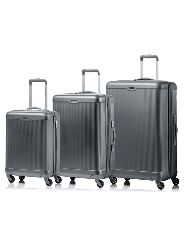 Champs 3-Piece Aspire Hardside Luggage Set - Grey - Front