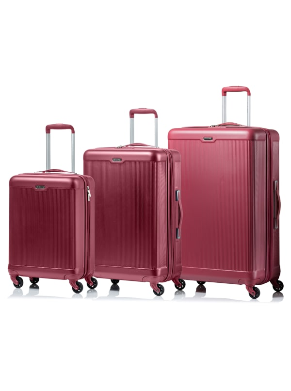 Champs 3-Piece Aspire Hardside Luggage Set - Pink - Front