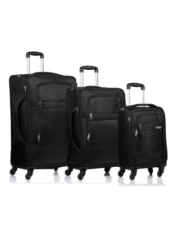 Champs 3-Piece Pacific Softside Luggage Set - Black - Front