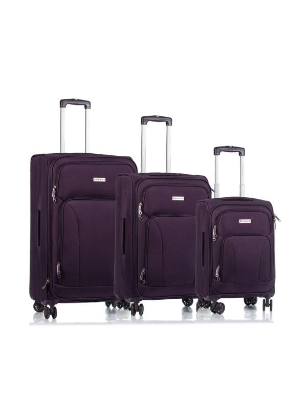 Champs 3-Piece Travelers Softside Luggage Set - Purple - Front