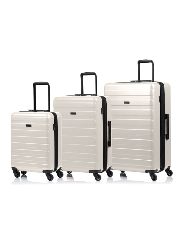 Champs 3-Piece Fire Hardside Luggage Set - Taupe - Front