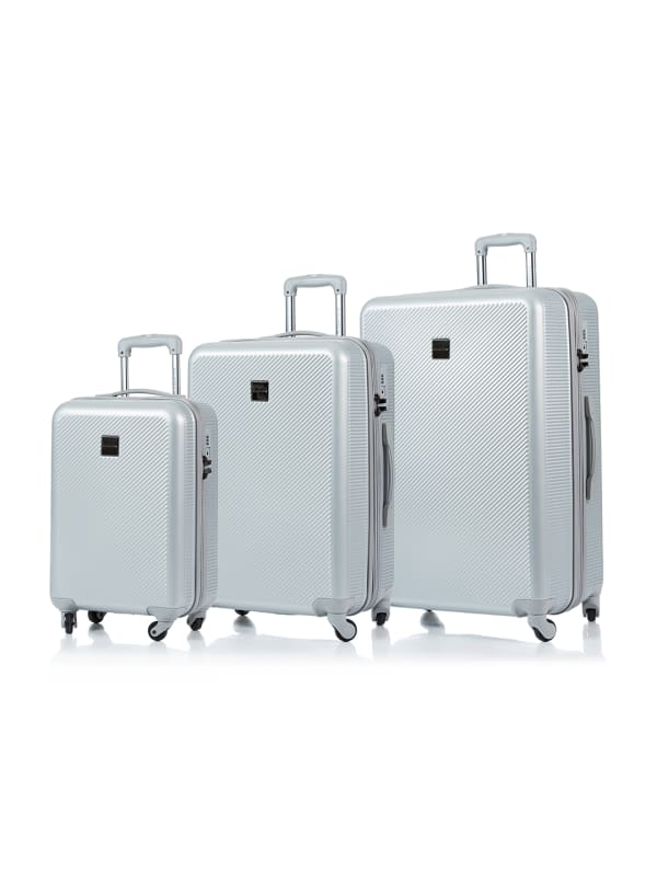 Champs 3-Piece Iconic Hardside Luggage Set - Silver - Front