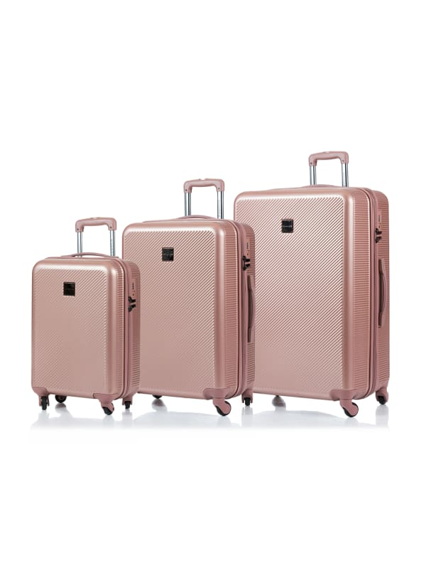Champs 3-Piece Iconic Hardside Luggage Set - Rose Gold - Front