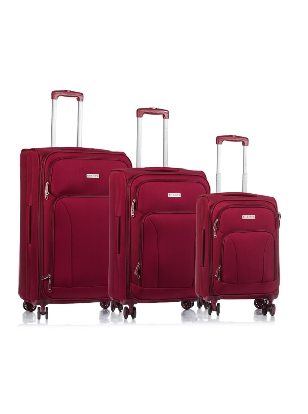 Champs 3-Piece Travelers Softside Luggage Set - Red - Front