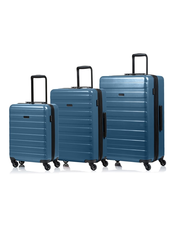 Champs 3-Piece Fire Hardside Luggage Set - Blue - Front