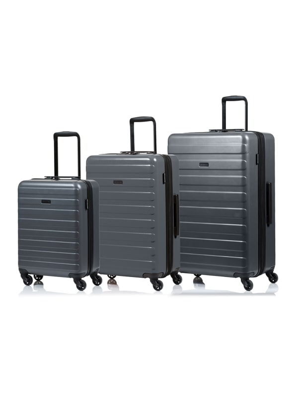 Champs 3-Piece Fire Hardside Luggage Set - Grey - Front