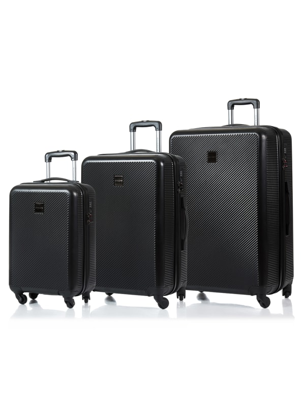 Champs 3-Piece Iconic Hardside Luggage Set - Black - Front