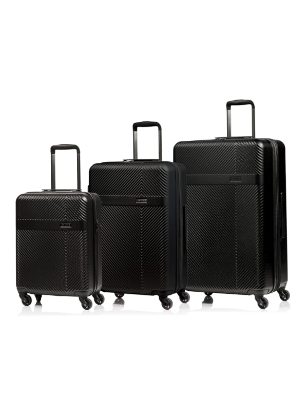 Champs 3-Piece Grid Hardside Luggage Set - Black - Front