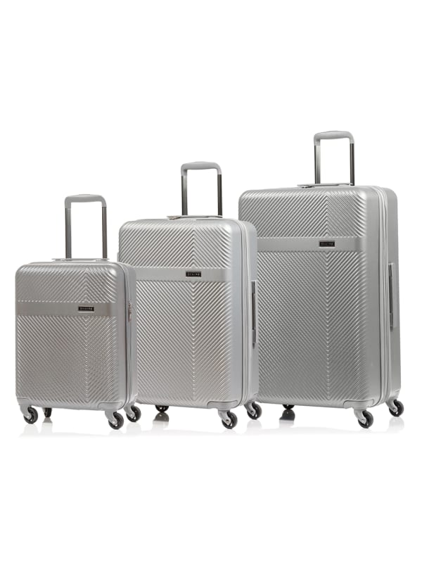 Champs 3-Piece Grid Hardside Luggage Set - Silver - Front