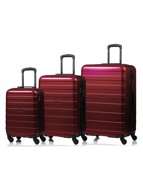 Champs 3-Piece Ice Hardside Luggage Set - Red - Front