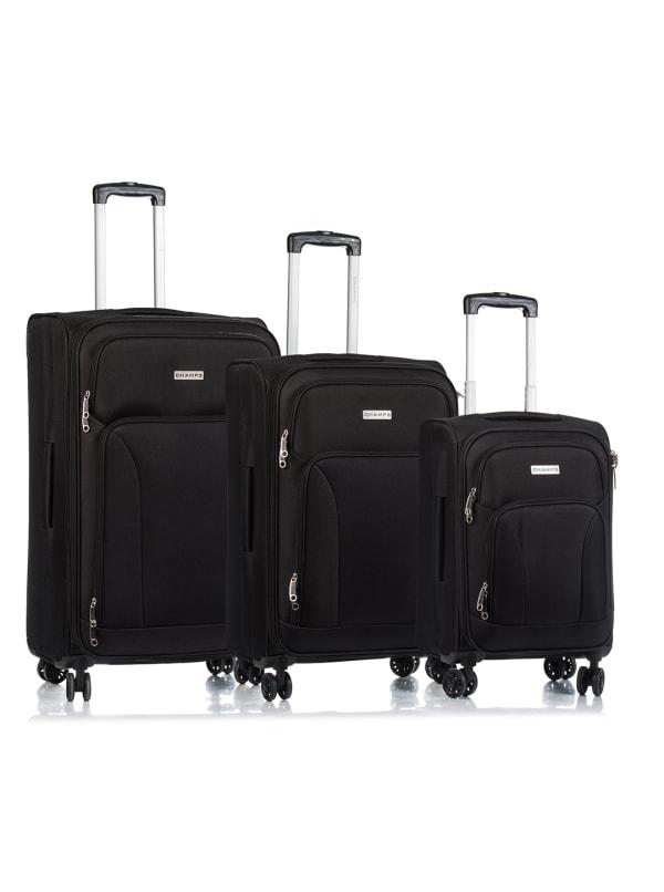 Champs 3-Piece Travelers Softside Luggage Set - Black - Front