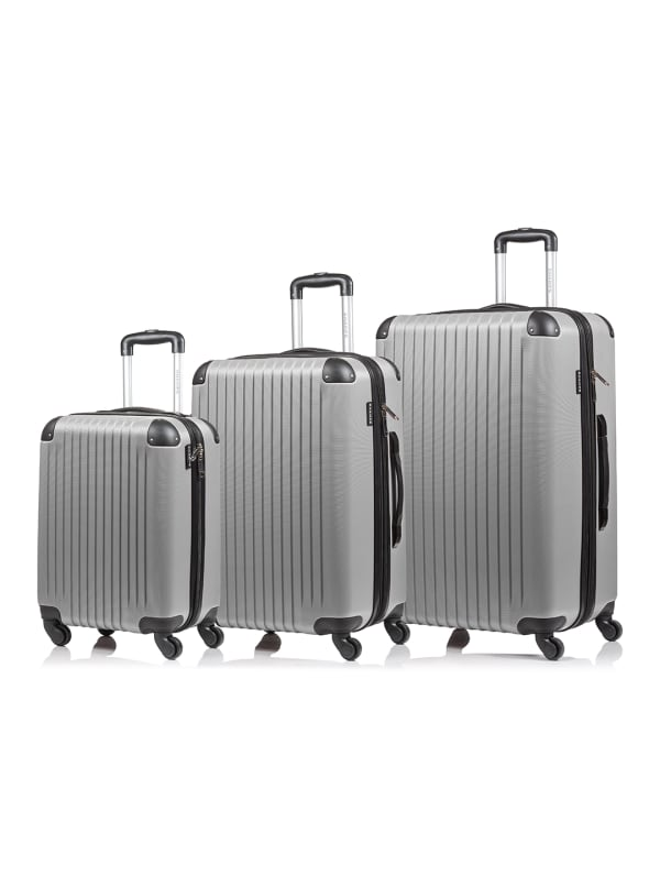 Champs 3-Piece Global Hardside Luggage Set - Grey - Front
