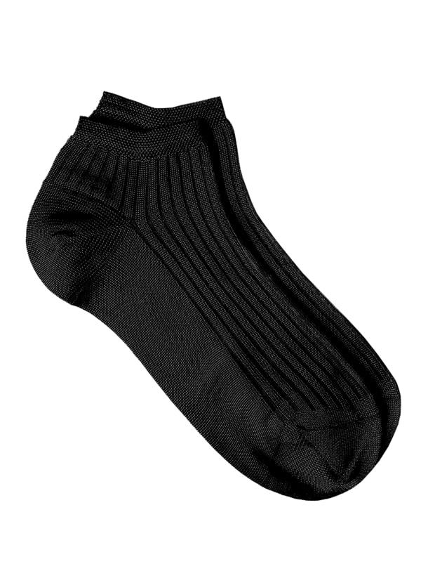 Solid Rib Socks - Black - Front