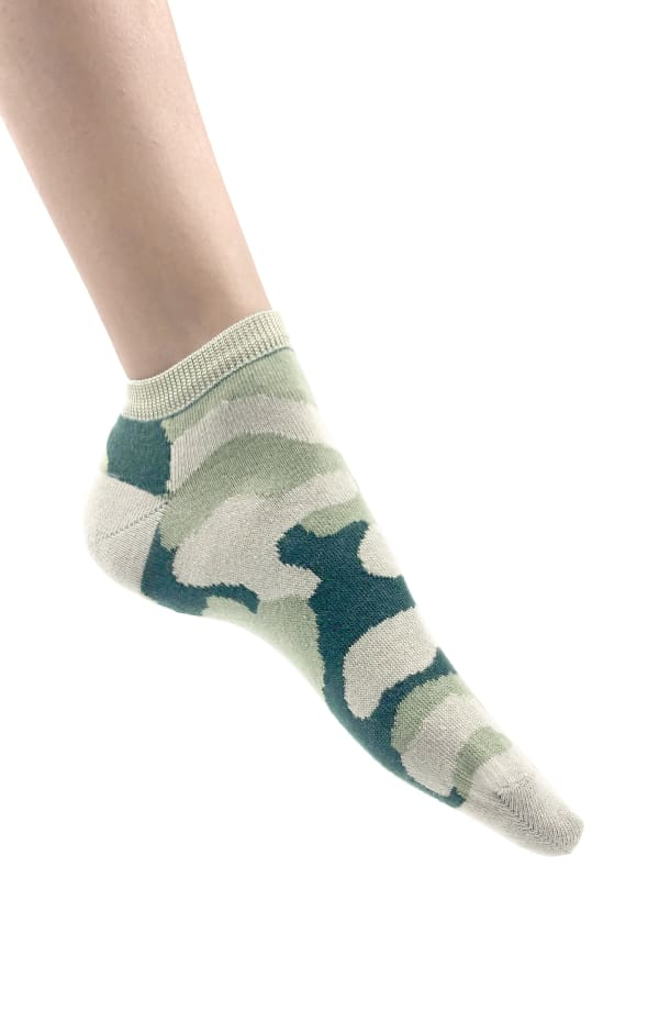 Camouflage No - Show Sneaker Socks - Olive - Front