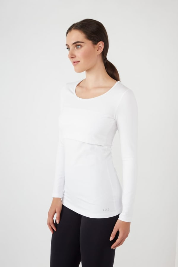Modern Eternity Charlotte Long Sleeves Round Neck Nursing Top - White - Front