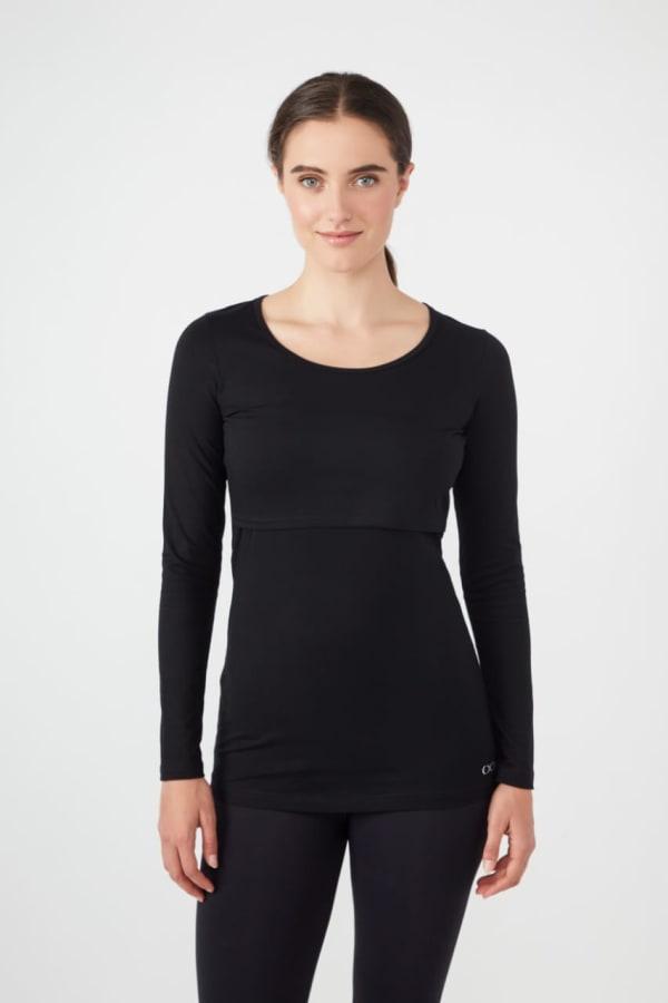 Modern Eternity Charlotte Long Sleeves Round Neck Nursing Top - Black - Front