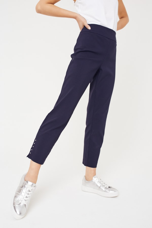 Roz & Ali Solid Superstretch Tummy Panel Pull On Ankle Pants With Rivet Trim Bottom - wine - Front