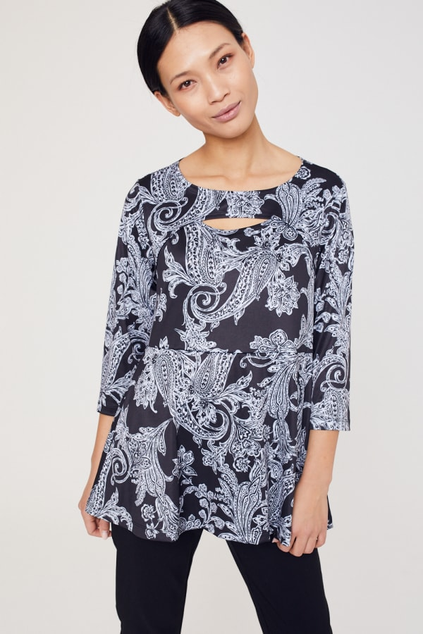 Roz & Ali Paisley Keyhole Fit and Flare Knit Top - Misses -Black/Grey - Front
