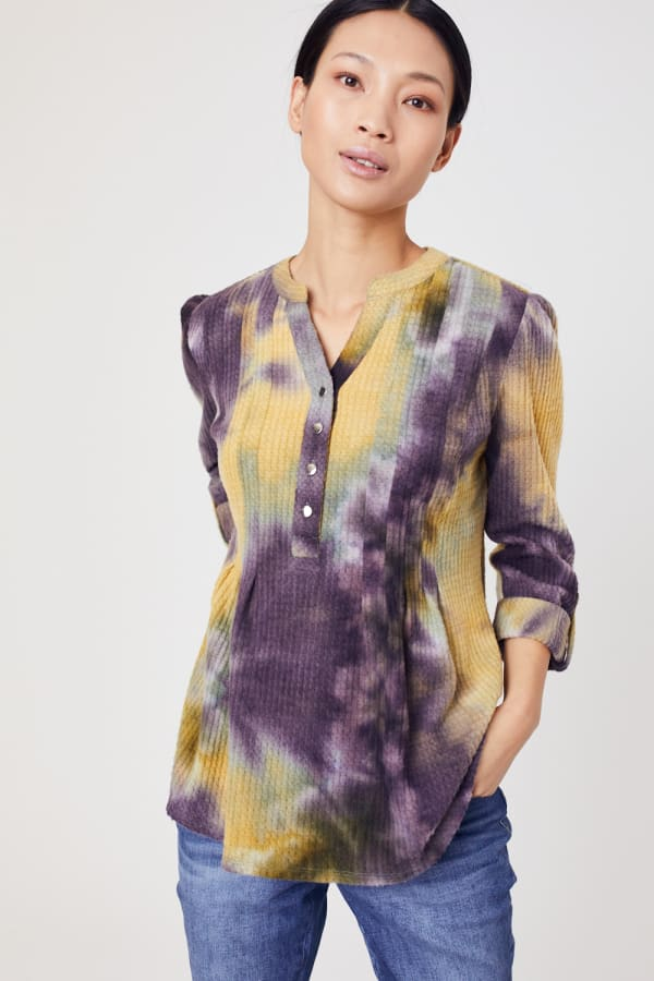 Roz & Ali Waffle Tie Dye Pintuck Popover - Mustard/Olive - Front
