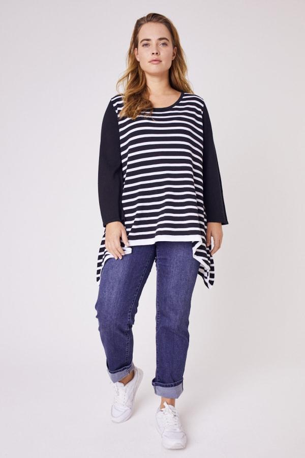 Roz & Ali Contrast Stripe Sweater - Plus