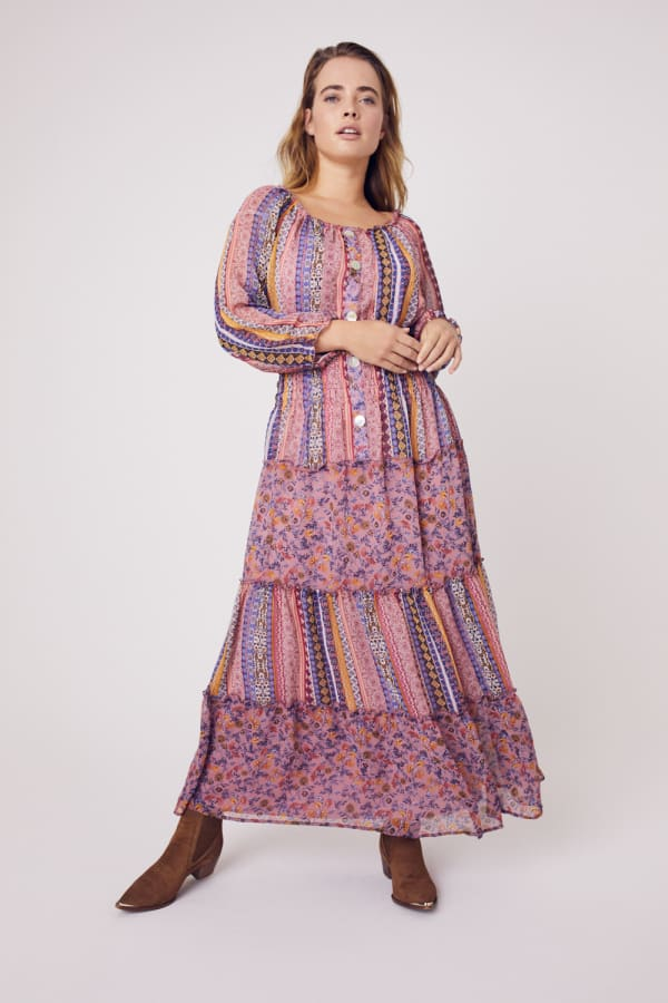 Multi Stripe Maxi Peasant Dress  - Plus - eggplant - Front