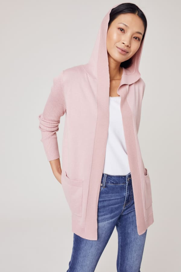 Westport Pocket Hoodie Open Cardigan - Misty Rose - Front