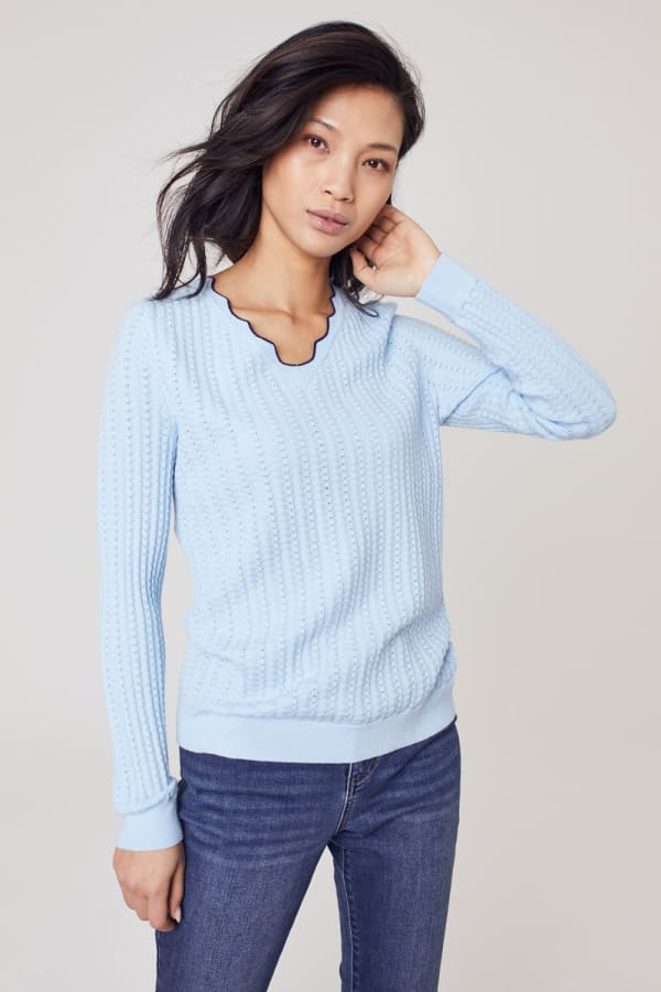 Roz & Ali Textured Scallop Trim Pullover Sweater - Sky Mist - Front