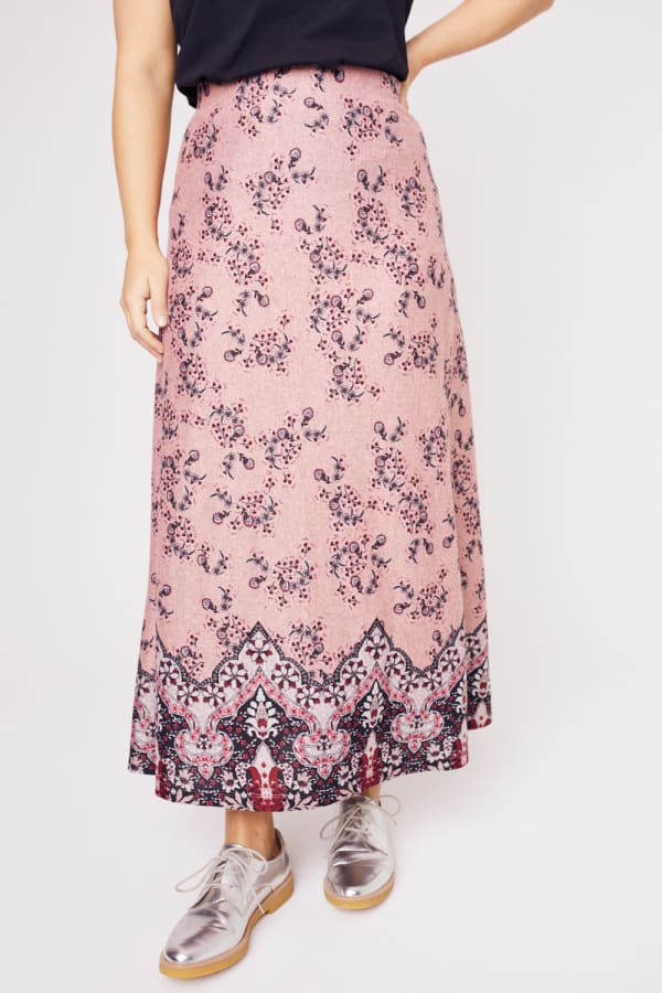 Roz & Ali  Hacci Aline Border Print Maxi Skirt - Plus - Blush/Taupe/Black - Front