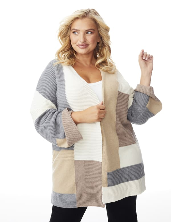 Westport Color Block Cardigan - Plus - Neutral Combo - Front