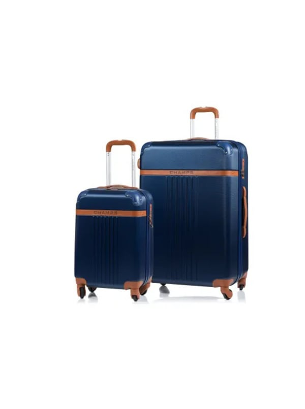Champs 2-Piece Vintage Hardside Luggage Set - Navy - Front