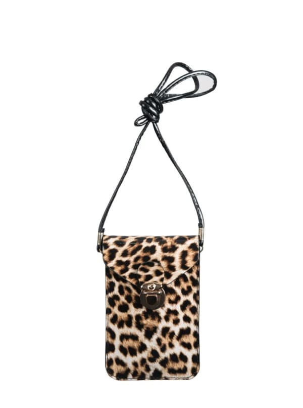 Champs Smartphone Sling Bag - Brown Leopard - Front