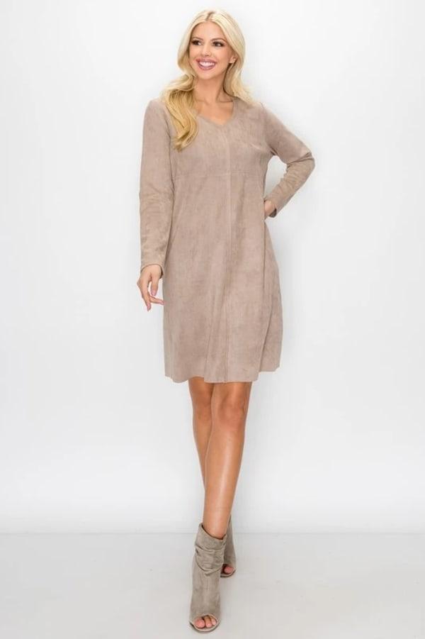 Aurora Long Sleeve V-Neck Dress - Khaki - Front