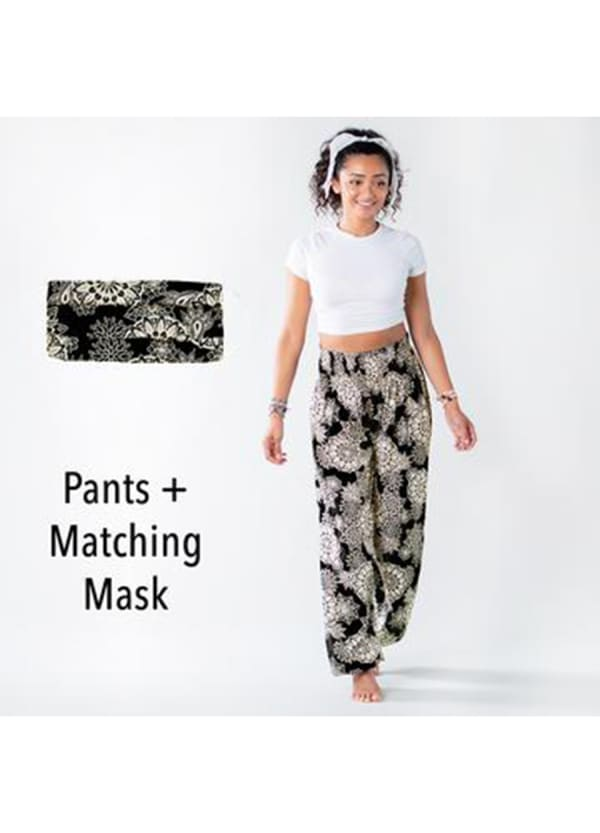 St. Kitts Harem Pants + Nose Wire Pleated Face Mask - Black / Cream - Front