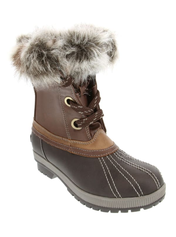 Milly Faux Fur Duck Boot - Cognac / Brown - Front