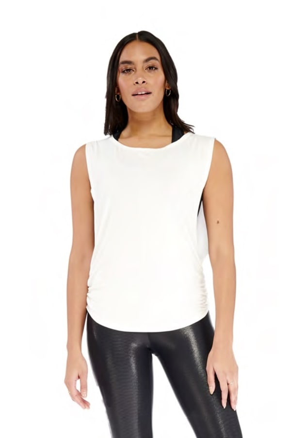 Side Tie Top - White - Front