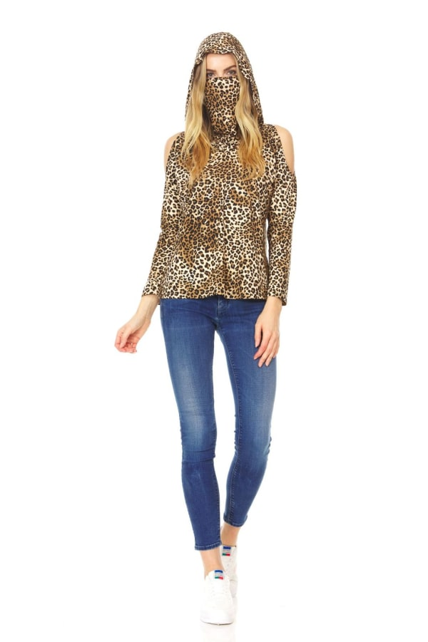 """Never Forget Your Mask"" Leopard Hoodie Cold Shoulder Top"