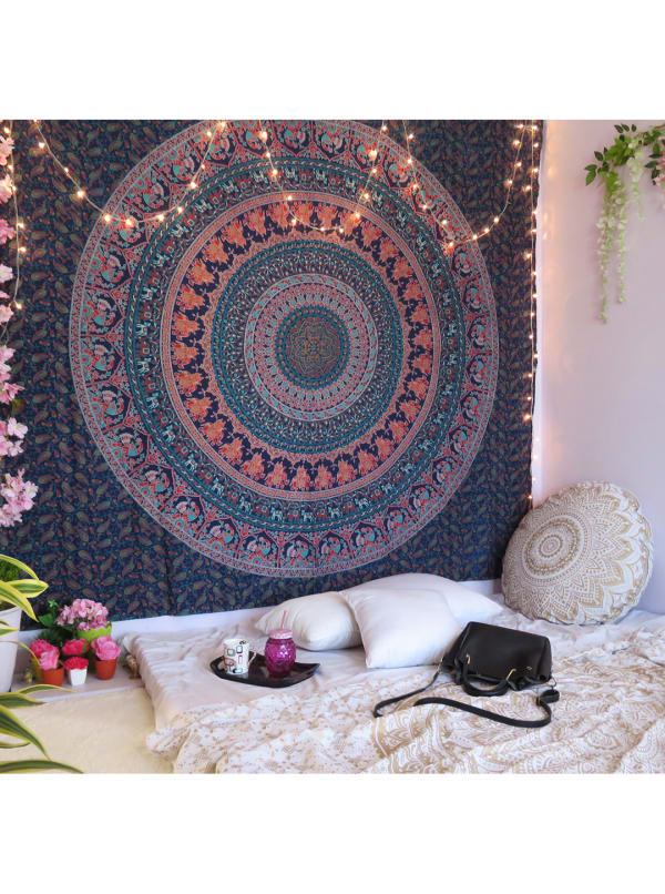 Navy Blue Queen Tapestry