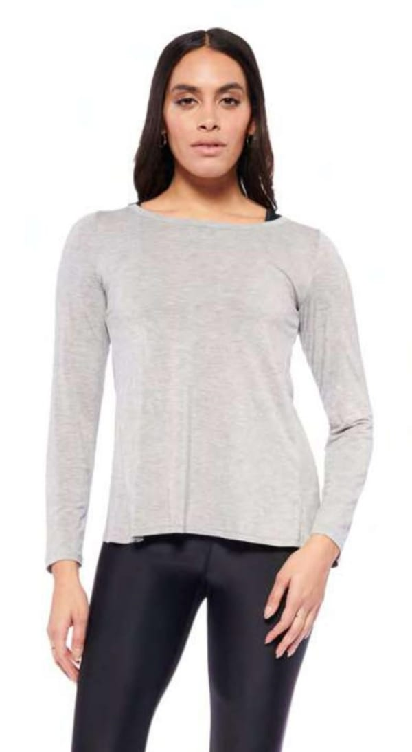 Mind Over Matter Long Sleeve Top - Heather Grey - Front