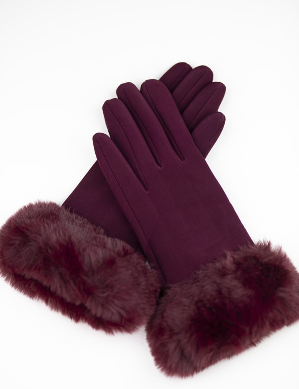 Scuba Knit Faux Fur Cuff Gloves With Touch Function - Burgundy - Front