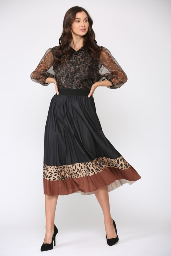 Winsley Animal Print Skirt - Black Leopard - Front