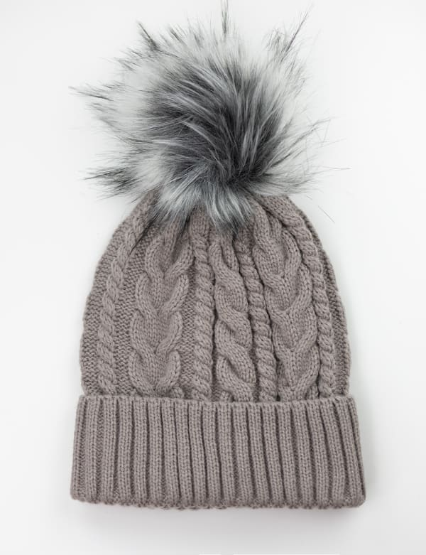 Cable Knit Beanie Hat - Fawn/Blush - Front