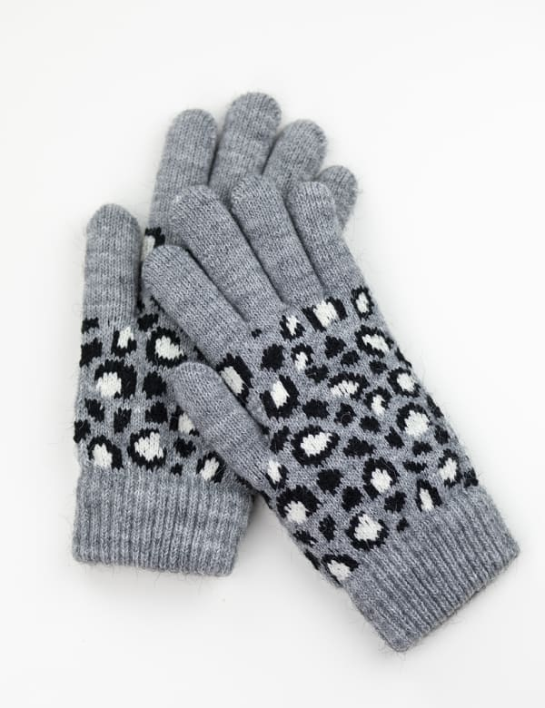 Leopard Jacquard Knit Touch Gloves - Grey Combo - Front