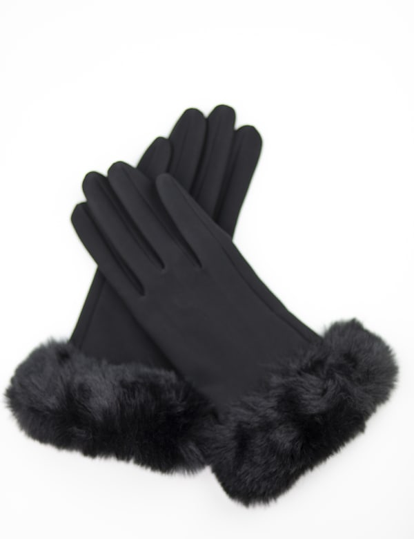 Scuba Knit Faux Fur Cuff Gloves With Touch Function - Black - Front